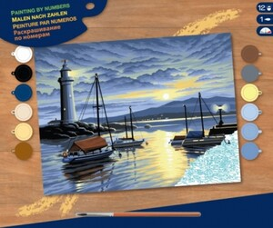 Набор для творчества PAINTING BY NUMBERS SENIOR Harbour at Sunrise Sequin Art