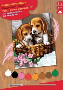 Набор для творчества PAINTING BY NUMBERS JUNIOR Basket of Puppies Sequin Art