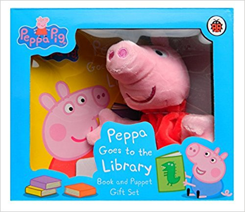Peppa Goes to the Library Book and Puppet