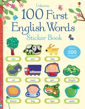 Фото 100 First English words sticker book.