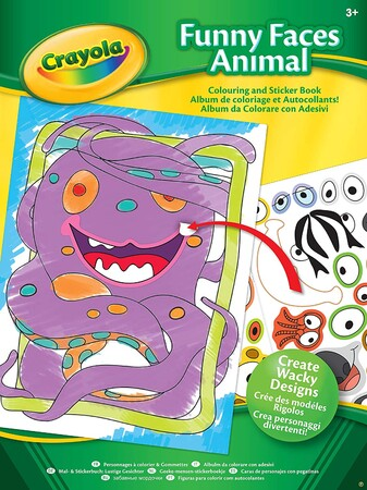 Фото Crayola Funny Faces Animals Colouring and Sticker Book.