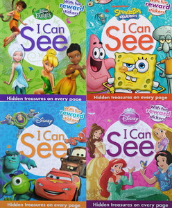 Disney I Can See Collection 4 Books Set With Hidden Treasures and Reward Stickers